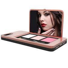 cosmetics palette phone case with makeup mirror