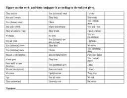 Verb Conjugation Drill English Version