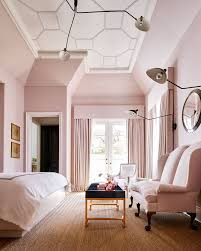pale pink bedroom with matching pale pink curtains