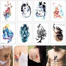 цветной рисунок животных водонепроницаемый временный боди арт татуировки стикер