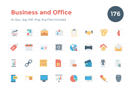 176 Flat Business And Office Icons Creative Stall