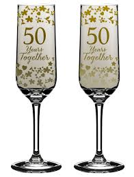 Golden 50th Wedding Anniversary Champagne Flutes Gift Set