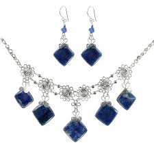 semi precious 5 stone pendant necklace set with matching earrings
