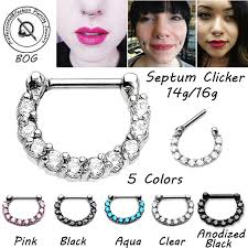 Facial Piercing Chart Us 1 75 12 Off Bog 1 Piece Surgical Steel Prong Set Zircon Gem Septum Nose Clicker Piercing Ring Septo Body Jewelry Nipple Helix Tragus14g 16g In