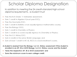class of fall parent night agenda graduation requirements  scholar diploma designation in addition to meeting the 24 credit standard high school diploma requirements