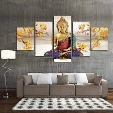 In this video, buddha decor home interior design ideas and entryway decorating interior ideas.modern living room wall decor ideas using buddha statues for. 5 Panel Hanging Painting Buddha Art Canvas Wall Art Buddha Picture Bakeryworldstyle Canvas Art