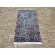 3 x 5 hand knotted ghom tabriz rug wool silk multi colored g1679