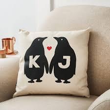 personalised penguin love valentine s canvas cushion