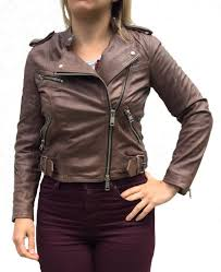 here is the extremely in demand cur season brown all saints atkinson leather jacket in a slim fitting uk size 8 us size 4