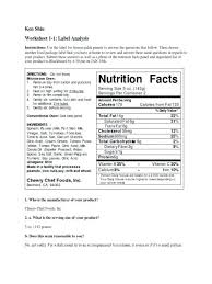 food label ysis worksheet nutrition label worksheet answer key free printables worksheet food label ysis worksheet