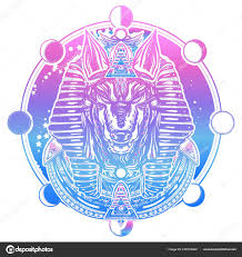 Anubis Měsíc Fáze Tetování Tričko Design Starověký Egypt Stock