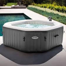 contemporary portable bathtub spa with heater fresh intex 120 bubble jets 4 person octagonal