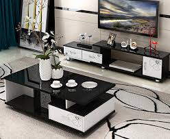 2 piece set luxe high gloss coffee table tv cabinet