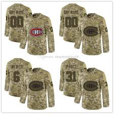 Embroidered Men Limited 6 Service Jersey 31 Carey Stitched Salute Montreal Camo Hockey Weber Logos S Custom Shea To Price Canadiens