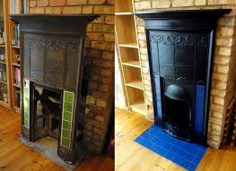 another fireplace restoration in middle from start to finish we sand blasted the fire then refinished it in a heat proof mat black paint