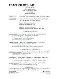 Sample Teaching Resumes Resume Of Teacher Sample Resume For Science