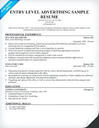 Ad Agency Resume Examples Entry Level Advertising – Joggnature