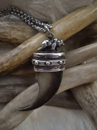 genuine bear claw set in a sterling silver cap pendant necklace images