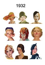 these thumbnails to enlarge each year of 1930 1931 1932 1933 34 1935 into an a4 page of images of hairstyles and hats 1936 1937 1938 and 1939