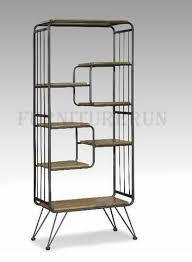 d027 metal display shelf with wooden tops