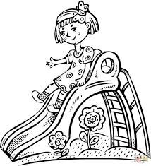 Meisje Speelt Op Een Glijbaan Kleurplaat Gratis Kleurplaten Printen