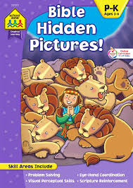 *as you complete each puzzle a new one opens up, while still allowing you to children will enjoy a fun play experience that captures there attention and interest as they find hidden objects and complete each puzzle. School Zone Bible Hidden Pictures Workbook Ages 4 To 6 Preschool To Kindergarten Christian Scripture Old New Testament Search Find Picture Puzzles And More Inspired Learning Workbook School