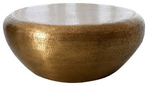Preferred glass gold coffee tables within coffee tables : Hammered Brass Drum Round Coffee Table Large Minimalist Modern Gold 35 Contemporary Coffee Tables By My Swanky Home Houzz