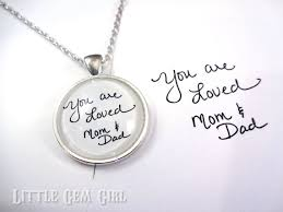 custom handwriting keychain or necklace graduation going away gift personalized message 1 inch round gl signature jewelry