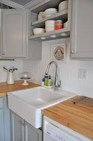 Kitchen Cabinets Beadboard Beadboard Backsplash Painted Blue With White Cabinets Cozy
