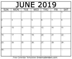 2019 June Calendar Printable By Week And Dates