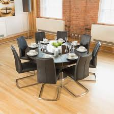 luxury large round black oak dining table lazy susan 11 chairs
