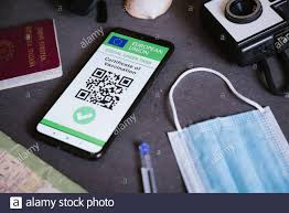 Eu covid digital green certificate pass on the screen of a mobile phone  with qr code and face mask. The european union covid19 vaccination  certificate Stock Photo - Alamy