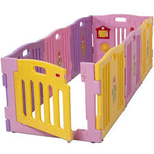 kidzone baby playpen kids 8 panel safety play center yard home indoor outdoor pen pink and yellow