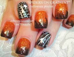 Halloween Nails! Orange and Black Ombre Tutorial with Spiderweb ...