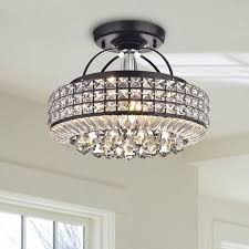 16 189 jolie antique black drum shade crystal semi flush mount chandelier