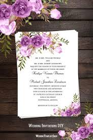 Wedding Invitations Templates Purple Printable Wedding Invitation Romantic Blossoms Make Your Own Diy