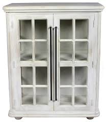 torrance 2 door cabinet solid wood white wash finish and clear glass farmhouse accent chests and cabinets by moti