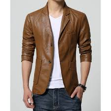 slim fit casual brown leather blazer for men