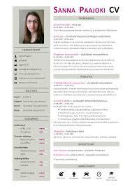 Cv Pohjia Sanna Paajoki Cv Ansioluettelo Cv Resume Pinterest Resume