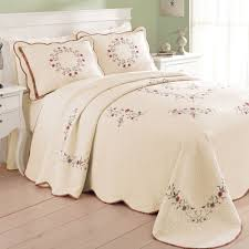 Angela Embroidered Floral Quilted Bedspread &  Adamdwight.com