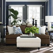 blue walls brown furniture. Brown Sofa, Rich Blue Wall, White Trim And Baseboards Walls Furniture