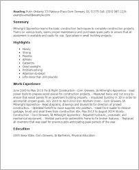 Resume Templates: Millwright Apprentice
