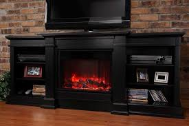 wood black electric fireplace tv stand