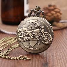 <b>Vintage Antique Carving Motorcycle</b> Steampunk Quartz Pocket ...
