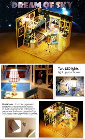 iiecreate Q-005 Dream of Sky DIY Dollhouse With Furniture Light Music Cover  Gift House