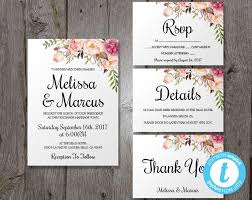 Easy Invitation Templates Wedding Invitation Template Set Floral Boho Wedding Invite