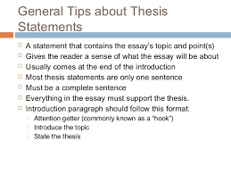 essay writing thesis statement   general tips about thesis statements