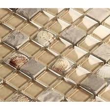 Gray Stone Mosaic Buff Glass Glossy Tile Backsplash Resin Shell Tiles Custom Resin Backsplash Ideas