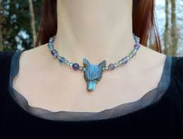 blue labradorite wolf necklace with fluorite crystal beads pastel goth witchy jewelry product images