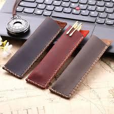 vintage retro style handmade genuine leather pencil bag cowhide fountain pen case holder accessories for travel journal cute pencil pouches cute pencil case